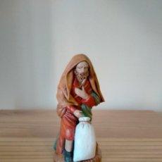 Figuras de Belén: ANTIGUA FIGURA PASTOR OFRENDA ARTESANÍA MURCIANA BELÉN PESEBRE NACIMIENTO NAVIDAD. Lote 223247596