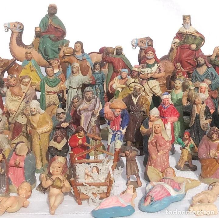 100 ANTIGUAS FIGURAS DE BARRO O TERRACOTA PARA NACIMIENTO O BELEN. (Coleccionismo - Figuras de Belén)
