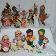 Figurines pour Crèches de Noël: NACIMIENTO CABEZONES DE PECH 21 FIGURAS AÑOS 60-70 .LOS QUE SE VEN EN LAS FOTOS. Lote 227019215