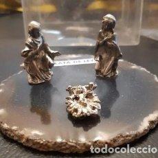 Figuras de Belén: BELÉN O NACIMIENTO DE PLATA DE LEY SOBRE ÁGATA. Lote 228868505