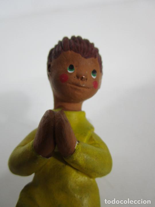 Figuras de Belén: Figura de Belén - Angelito - Terracota Policromada - Escultor Quera - Foto 7 - 228932600