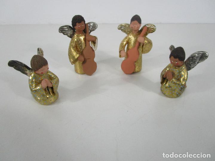 Figuras de Belén: Figura de Belén - Angelitos Músicos - Ángel Terracota Policromada y Dorado - Escultor Quera - Foto 2 - 228933510