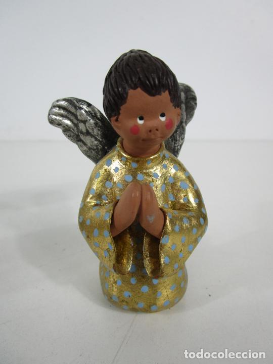 Figuras de Belén: Figura de Belén - Angelitos Músicos - Ángel Terracota Policromada y Dorado - Escultor Quera - Foto 3 - 228933510