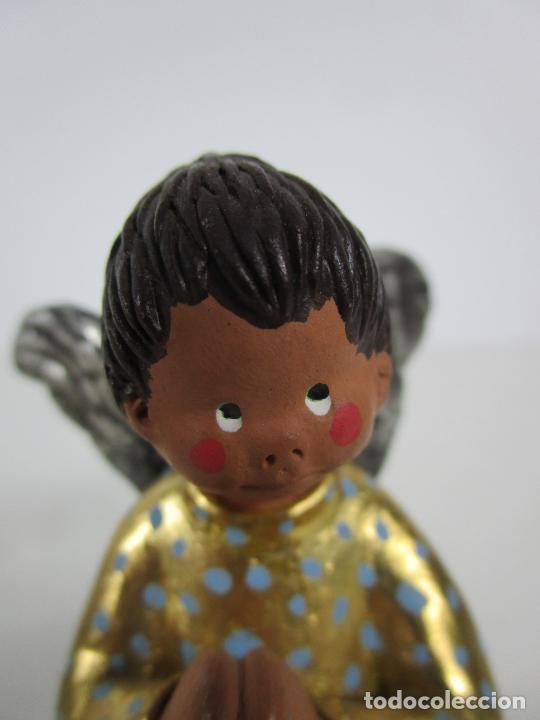 Figuras de Belén: Figura de Belén - Angelitos Músicos - Ángel Terracota Policromada y Dorado - Escultor Quera - Foto 6 - 228933510