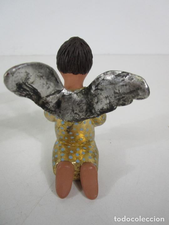 Figuras de Belén: Figura de Belén - Angelitos Músicos - Ángel Terracota Policromada y Dorado - Escultor Quera - Foto 8 - 228933510