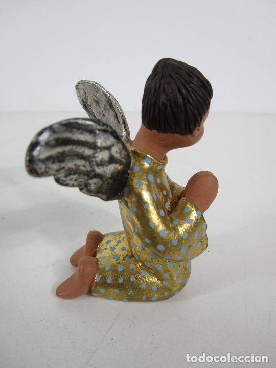 Figuras de Belén: Figura de Belén - Angelitos Músicos - Ángel Terracota Policromada y Dorado - Escultor Quera - Foto 9 - 228933510