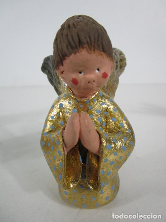 Figuras de Belén: Figura de Belén - Angelitos Músicos - Ángel Terracota Policromada y Dorado - Escultor Quera - Foto 11 - 228933510