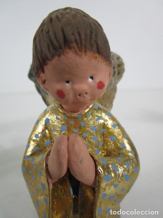 Figuras de Belén: Figura de Belén - Angelitos Músicos - Ángel Terracota Policromada y Dorado - Escultor Quera - Foto 12 - 228933510