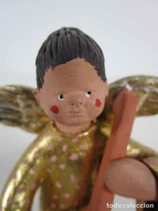 Figuras de Belén: Figura de Belén - Angelitos Músicos - Ángel Terracota Policromada y Dorado - Escultor Quera - Foto 20 - 228933510