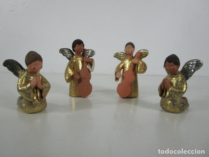 Figuras de Belén: Figura de Belén - Angelitos Músicos - Ángel Terracota Policromada y Dorado - Escultor Quera - Foto 24 - 228933510