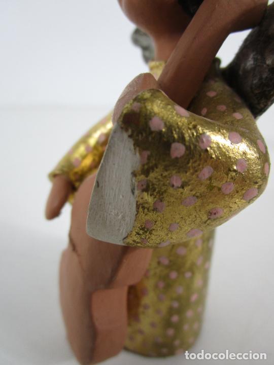 Figuras de Belén: Figura de Belén - Angelitos Músicos - Ángel Terracota Policromada y Dorado - Escultor Quera - Foto 28 - 228933510