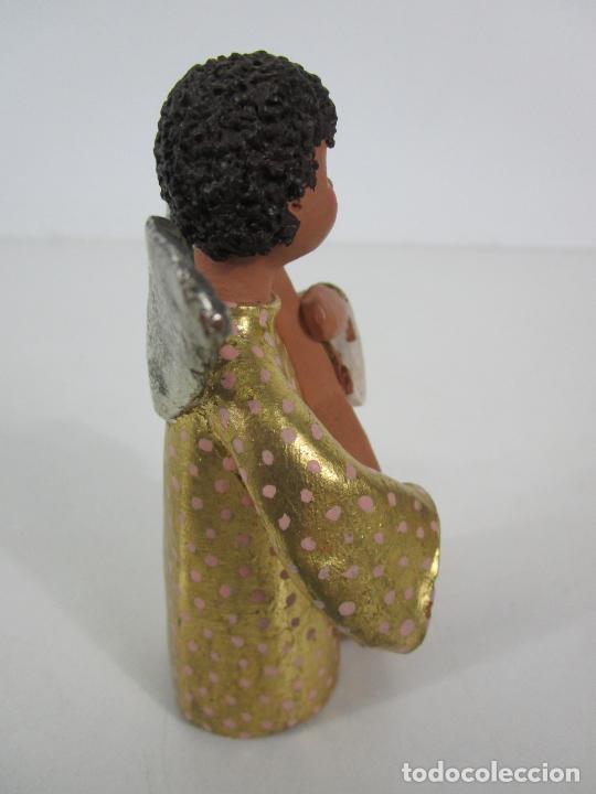 Figuras de Belén: Figura de Belén - Angelitos Músicos - Ángel Terracota Policromada y Dorado - Escultor Quera - Foto 31 - 228933510