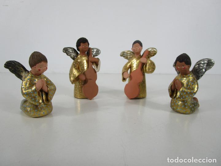 Figuras de Belén: Figura de Belén - Angelitos Músicos - Ángel Terracota Policromada y Dorado - Escultor Quera - Foto 33 - 228933510