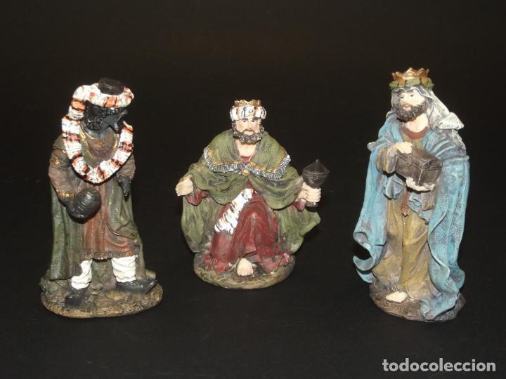 3 BONITOS REYES MAGOS PARA BELÉN - MARMOLINA - 12 CMS. LA MÁS ALTA - VER FOTOS ADICIONALES. (Coleccionismo - Figuras de Belén)