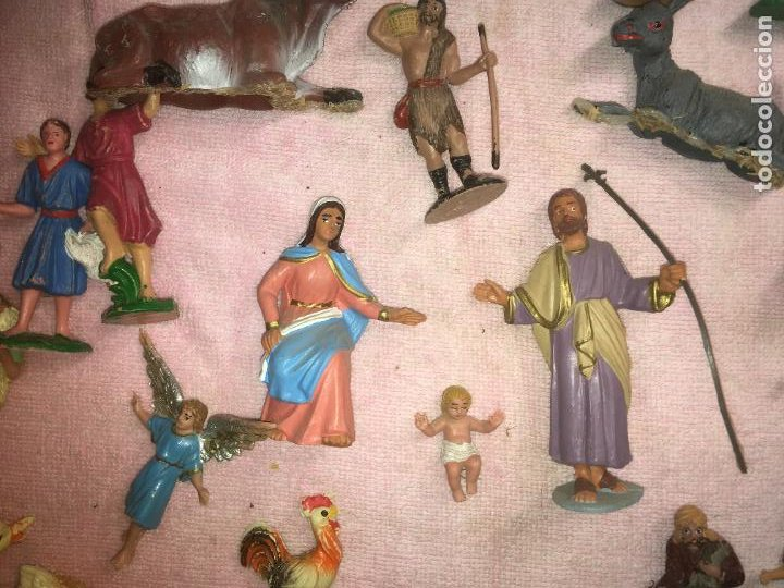 Figuras de Belén: Lote de 60 figuras de belén pesebre plástico años 70 imagino marca Reamsa, entre 6 y 7,5 cms. - Foto 12 - 231219665