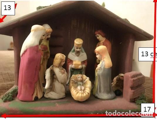 PORTAL DE BELÉN EN CERÁMICA. SAGRADA FAMILIA Y LOS 3 MAGOS. (Coleccionismo - Figuras de Belén)
