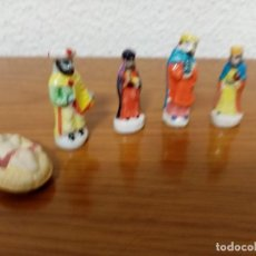 Figuras de Belén: BELEN MINIATURA 4 CMS. CERAMICA PORCELANA,5 FIGURAS ROSCÓN DE REYES. Lote 245386840