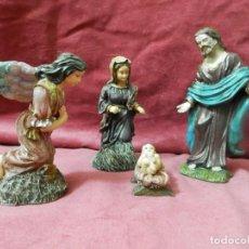 Figuras de Belén: NACIMIENTO PARA BELEN. MARIA, JOSE EL NIÑO JESUS Y ANGEL ANUNCIADOR. SELLO MEDALLA DE ORO. Lote 246167210