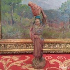 Figuras de Belén: FIGURA BELEN PESEBRE NACIMIENTO EN MADERA MUY ANTIGUOS. Lote 248614590