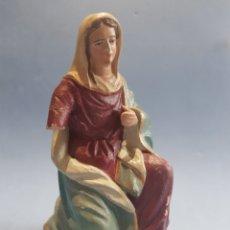Figuras de Belén: FIGURA DE BELEN ,VIRGEN MARÍA, BARRO ANTIGUA. Lote 252635500