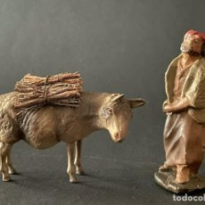 Figuras de Belén: FIGURA DE BELEN O PESSEBRE EN BARRO O TERRACOTA - BURRO CON LEÑA Y PASTOR. Lote 253182930