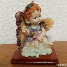 Figuras de Belén: FIGURA EN RESINA ANGEL QUERUBIN,ANGELOTE, CON ARPA AÑOS 80. Lote 254013750