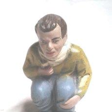 Figuras de Belén: CAGANER TERRACOTA POLICROMADA. Lote 266465438