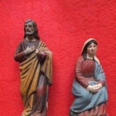 Figuras de Belén: 2 FIGURAS NACIMIENTO BELÉN BARRO TERRACOTA SAN JOSÉ 14 CM VIRGEN 11 CM. Lote 268998024