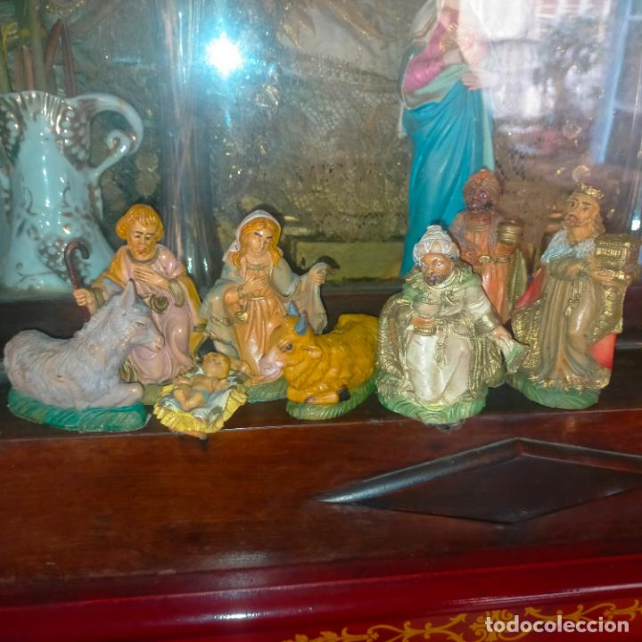 FIGURA PORTAL DE BELEN NACIMIENTO COMPLETO , REYES MAGOS, VIRGEN NIÑO JESUS SAN JOSE PLASTICO DURO (Coleccionismo - Figuras de Belén)