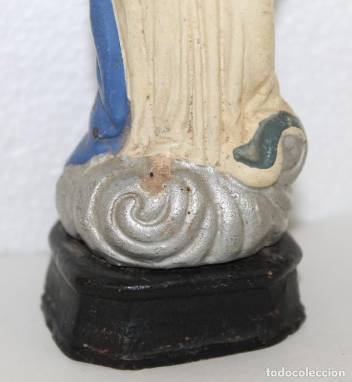 Figuras de Belén: Virgen Inmaculada en barro terracota pintada figura de belén. Principios siglo XX - Foto 3 - 278681453