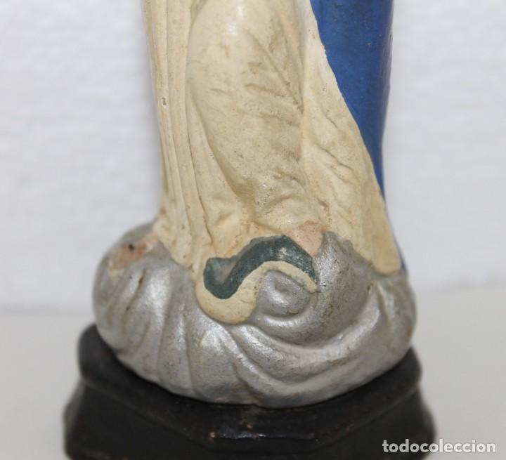 Figuras de Belén: Virgen Inmaculada en barro terracota pintada figura de belén. Principios siglo XX - Foto 4 - 278681453