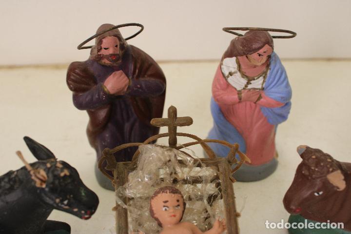Figuras de Belén: ANTIGUO BELEN NACIMIENTO DE BARRO, 4 PIEZAS - Foto 6 - 288602583