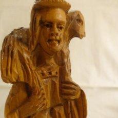 Figuras de Belén: FIGURA DE PASTOR DE BELÉN, NACIMIENTO, EN MADERA, PERFECTO ESTADO. Lote 292272538