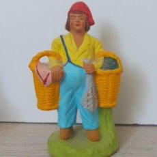 Figuras de Belén: ANTIGUA FIGURA DE ARCILLA DE BELEN - SANTONS - BARTHOUMIOU - AÑOS 60 - FIRMADO POR JOUVE ROGER EN LU. Lote 293565998