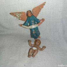 Figuras de Belén: ANGEL Y NIÑO JESUS DE PLASTICO DURO PARA BELEN. Lote 293829508