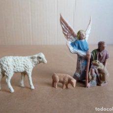 Figuras de Belén: LOTE 3 FIGURAS AÑOS 70 PARA BELEN DE NAVIDAD - PASTOR OVEJA ANGEL + EXTRA. Lote 294488848