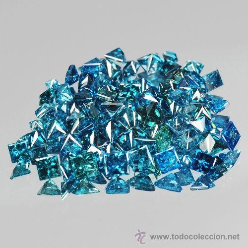 DIAMANTES AZULES PEQUEÑOS CUADRADOS DE 1,0 A 1,2 MM. (Coleccionismo - Mineralogía - Gemas)