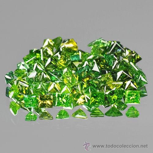 DIAMANTES VERDES CUADRADOS PEQUEÑOS DE 1,0 A 1,2 MM. (Coleccionismo - Mineralogía - Gemas)