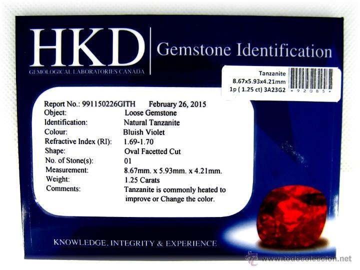 Coleccionismo de gemas: TANZANITA 1.25 Cts. Oval, con Certificado Gemologico - Foto 2 - 145289384