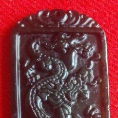 Coleccionismo de gemas: CHINA - AMULETO DE JADE VERDE TALLADO A MANO - DRAGON DE LA SUERTE. Lote 69359845