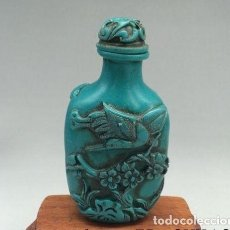 Coleccionismo de gemas: PRECIOSA BOTELLITA DE RAPE (SNUFF) - REALIZADO A MANO EN TURQUESA ARTIFICIAL - ARTESANIA CHINA. Lote 71915167