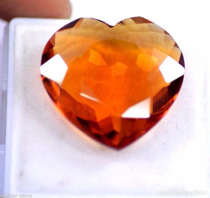 Coleccionismo de gemas: 40,00 CTS EXCELENTE CITRINO NATURAL TALLA CORAZON CERTIFICADO - Foto 2 - 81317504