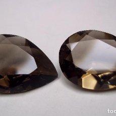 Coleccionismo de gemas: VINTAGE. INTERESANTE PAREJA DE TOPACIOS FUME. SINTETICOS. ALTA CALIDAD. AÑOS 90. ENVIO GRATIS.. Lote 126935048