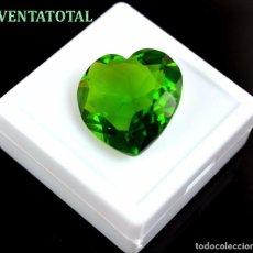 Coleccionismo de gemas: MOLDAVITA VERDE CORAZON - DE 29,50 KILATES MEDIDA 2,2 X 2,2 CENTIMETROS - CON CERTIFICADO IGL - Nº1. Lote 178713766