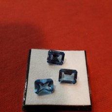Coleccionismo de gemas: 3 AGUAMARINAS SINTÉTICAS DE 11 KILATES. Lote 116324439