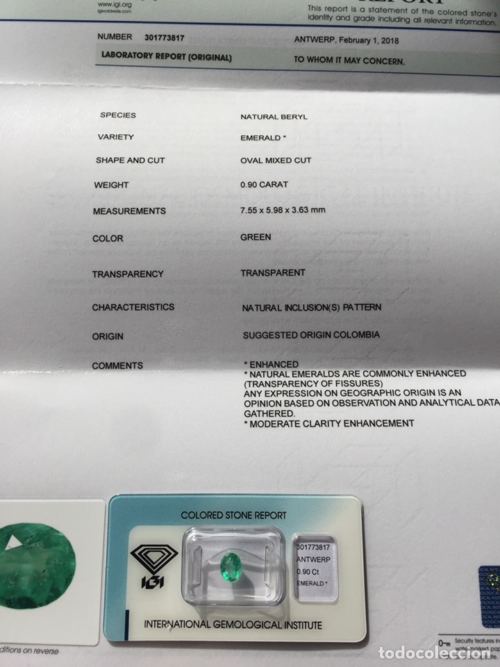 Coleccionismo de gemas: ESMERALDA COLOMBIANA -0.90 CT- IGI CERTIFICADO Y ENCAPSULADA - Foto 7 - 118209391