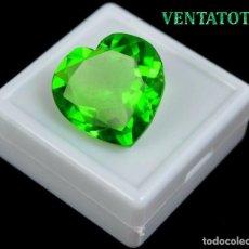 Coleccionismo de gemas: MOLDAVITA VERDE CORAZON DE 32,15 KILATES CON CERTIFICADO IGL MEDIDA 23X23 MILIME =2,3X2,3 CENTI-Nº2. Lote 118358635