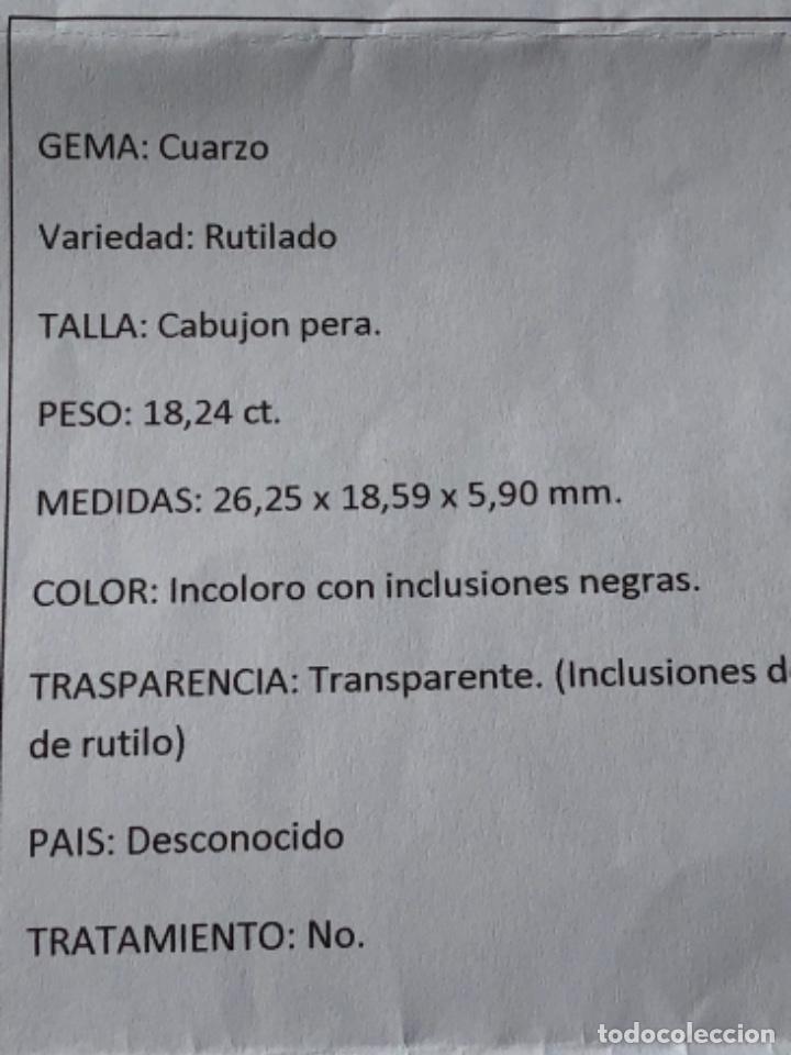 Coleccionismo de gemas: CUARZO RUTILADO-18.24CT -, CON INFORME GEMOLOGICO - Foto 9 - 119342651