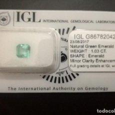 Coleccionismo de gemas: ESMERALDA NATURAL CERTIFICADA 1,03CT. Lote 158463789