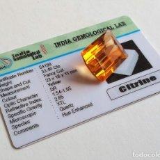 Coleccionismo de gemas: CITRINO AMARILLO 33.40 CTS 23 X 18 X 11 MM CON CERTIFICADO DE LABORATORIO IGL . Lote 125068903